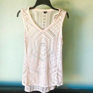 Pink Aztec boho sheer tunic top M t shirt blouse